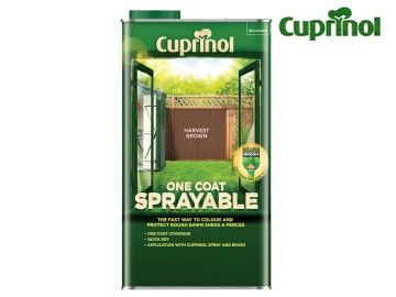 Cuprinol One Coat Sprayable Fence Treatment Harvest Brown 5 Litre - CUPNSFTHB5L