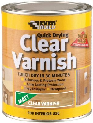 Everbuild Quick Dry Wood Varnish Matt Clear 2.5 Litre - EVBWVARCLM2