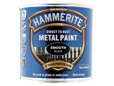 Hammerite Direct To Rust Smooth Finish Metal Paint Black 250ml - HMMSFBL250